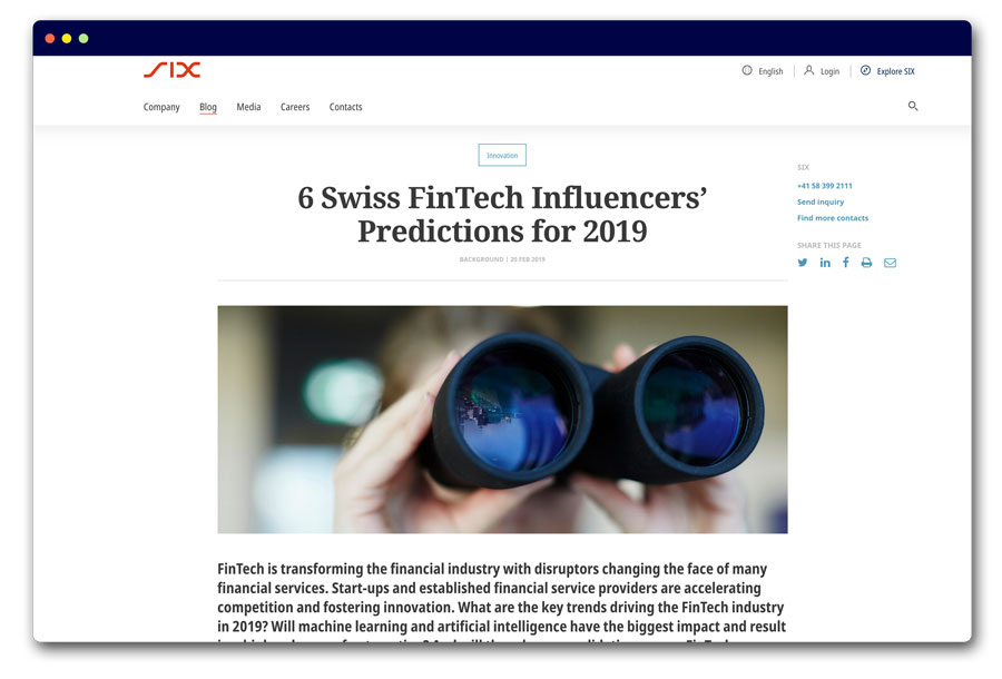 6 Swiss FinTech Influencers' Predictions for 2019
