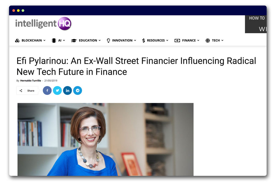 Efi Pylarinou: An Ex-Wall Street Financier Influencing Radical New Tech Future in Finance