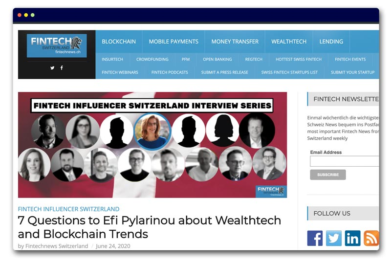 7 Questions to Efi Pylarinou about Wealthtech and Blockchain Trends