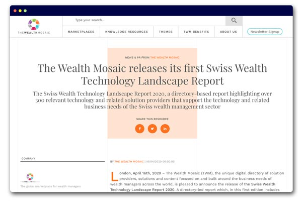 The Wealth Mosaic releases its first Swiss Wealth Technology Landscape Report