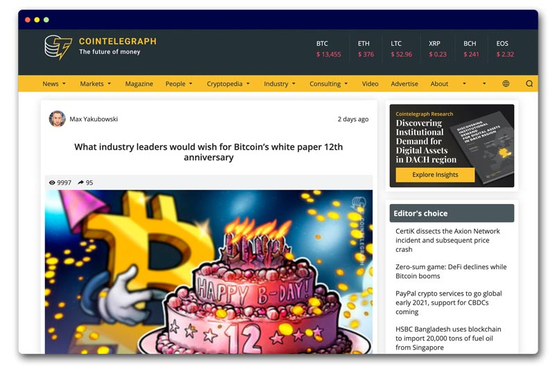 Cointelegraph What industry leaders would wish for Bitcoin's white paper 12th anniversary
